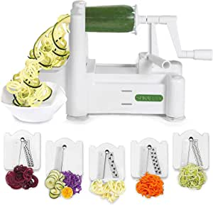 Spiralizer 5-Blade Vegetable Slicer, Strongest-and-Heaviest Spiral Slicer, Best Veggie Pasta Spaghetti Maker for Keto/Paleo/Gluten-Free, Comes with 4 Recipe Ebooks