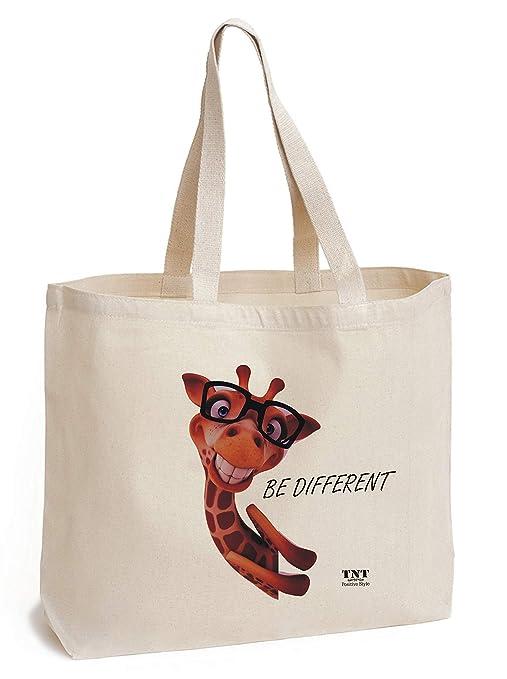 3798910da Bolsa de tela de algodón con parte inferior - estampado de Jirafa único -  lona de bolsa grande ...