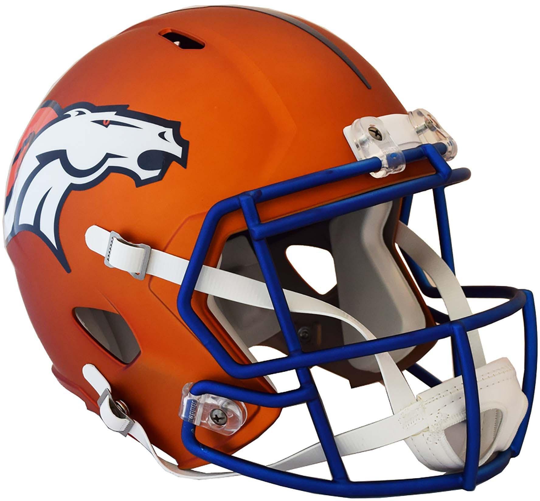 Riddell Denver Broncos Blaze Revolution Speed Full-Size Replica Football Helmet - Fanatics Authentic Certified