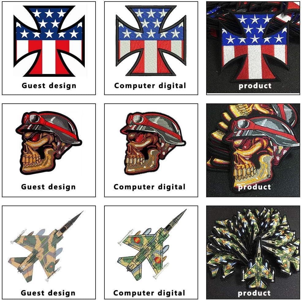 thermocollant // coudre // patch Velcro nimporte quelle taille nimporte quel logo personnalit/é bricolage Badge Patches de broderie de conception personnalis/ée motif de patch moto Biker