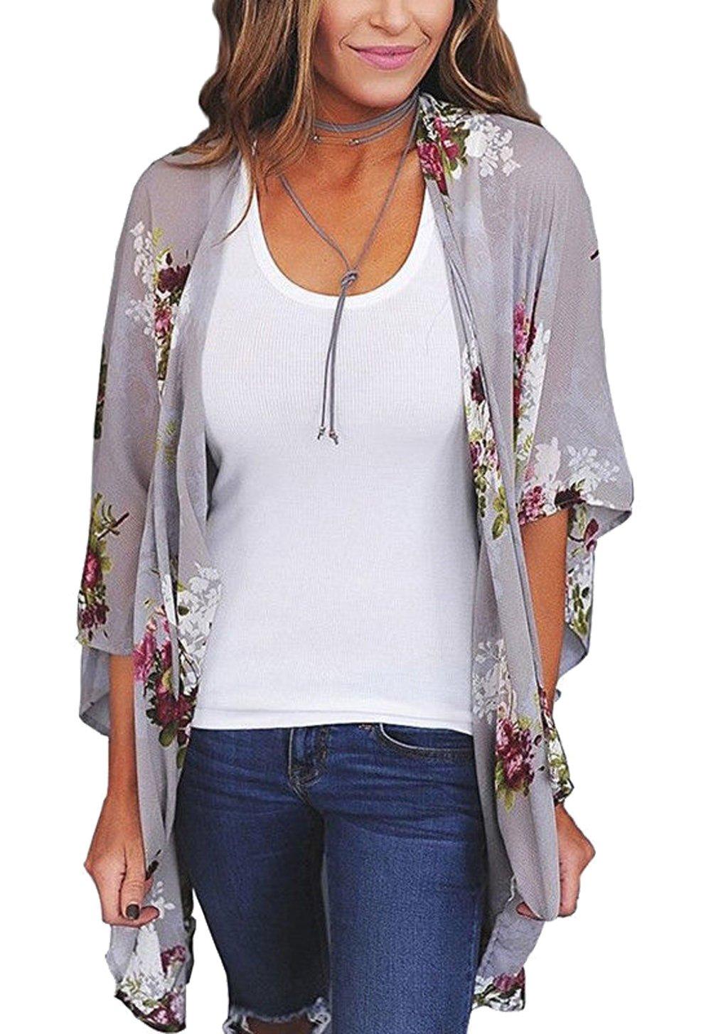 Relipop Women's Sheer Chiffon Blouse Loose Tops Kimono Floral Print Cardigan (Large, Style 34) by Relipop (Image #1)