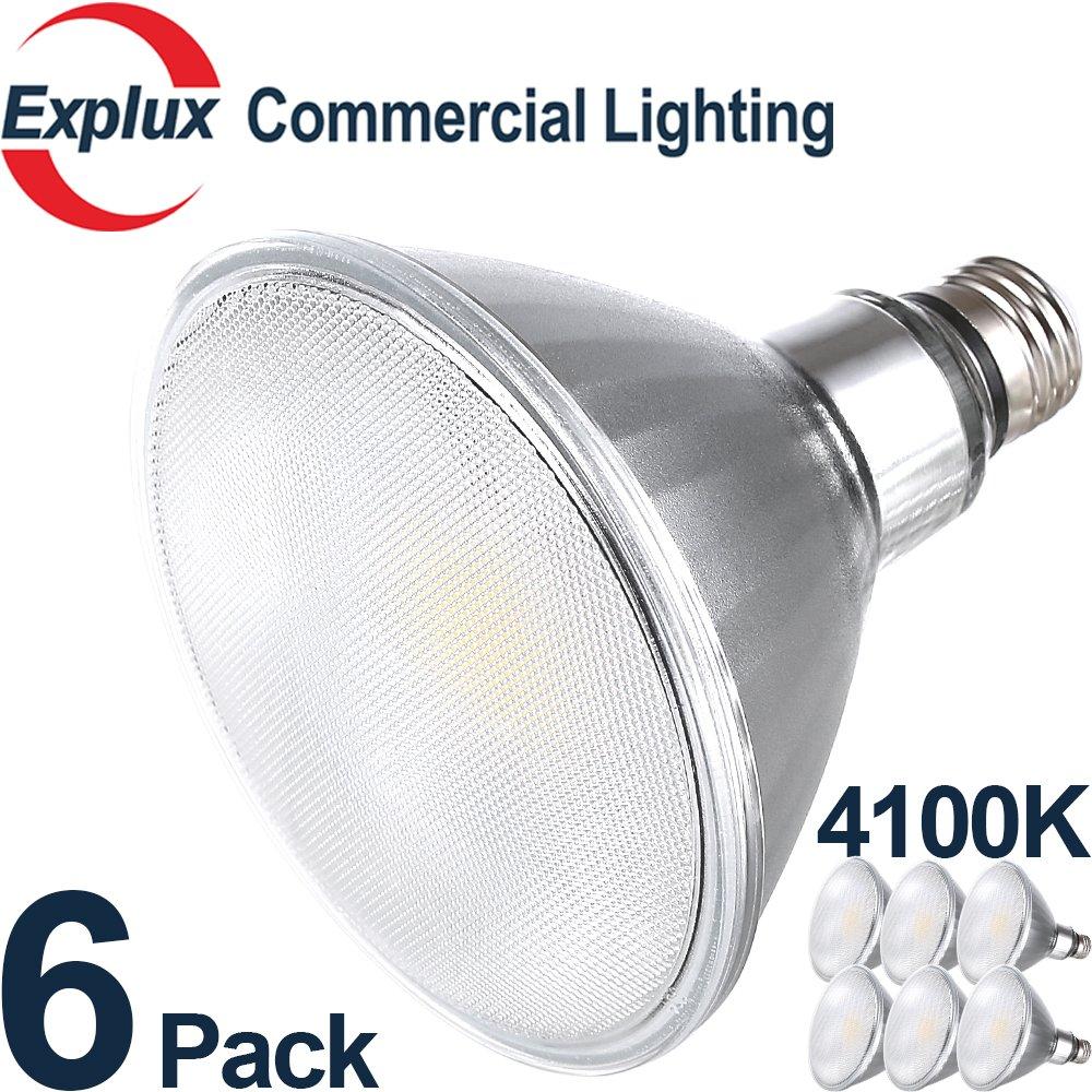 Premium Full-Glass Dimmable LED PAR38 LED Bulbs, 4100K Cool White, Weatherproof 14W (120 Watts Equivalent) LED PAR38 Light Bulbs, Flood Light, (Pack of 6)