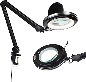 Brightech LightView PRO - LED Magnifying Glass Desk Lamp for Close Work - 2.25x Magnification