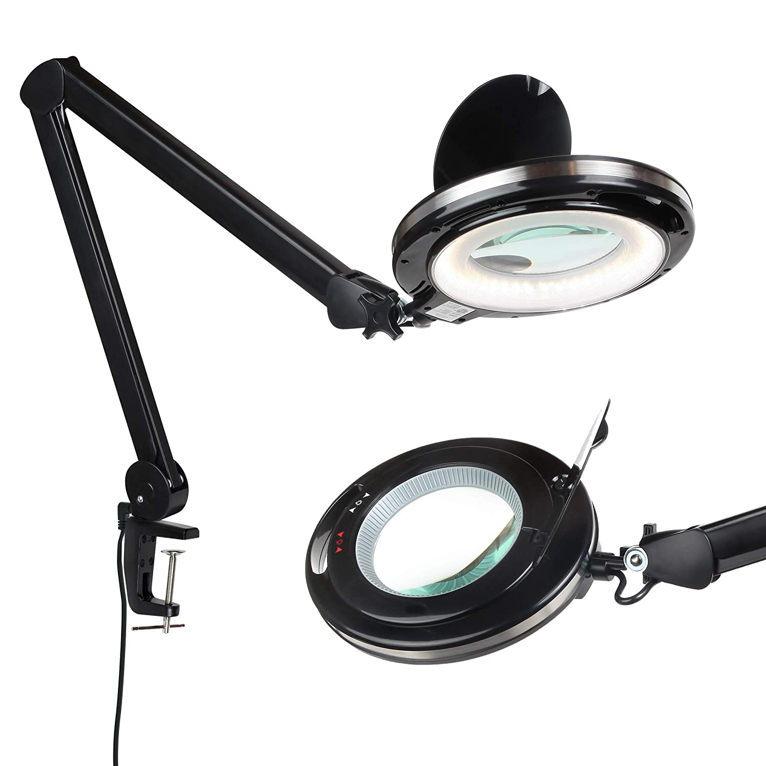 Brightech LightView PRO - LED Magnifying Glass Desk Lamp for Close Work - Bright, Lighted Magnifier for Reading, Crafts & Pro Tasks - Light Color Adjustable & Dimmable - 2.25x Magnification