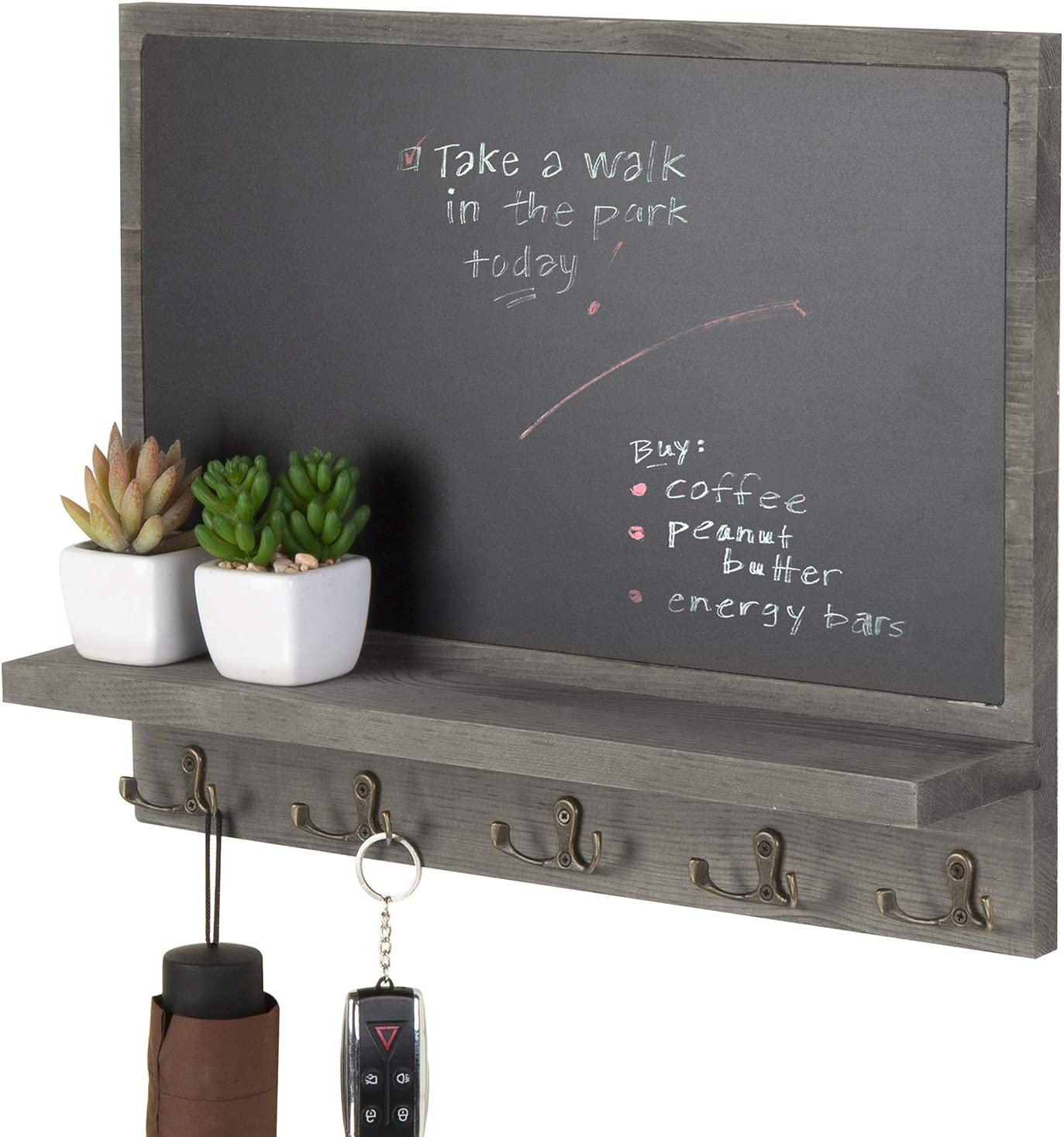 MyGift Wall-Mounted Barnwood Gray Wood Chalkboard Wall Decor with Display Ledge and 10 Key Hooks