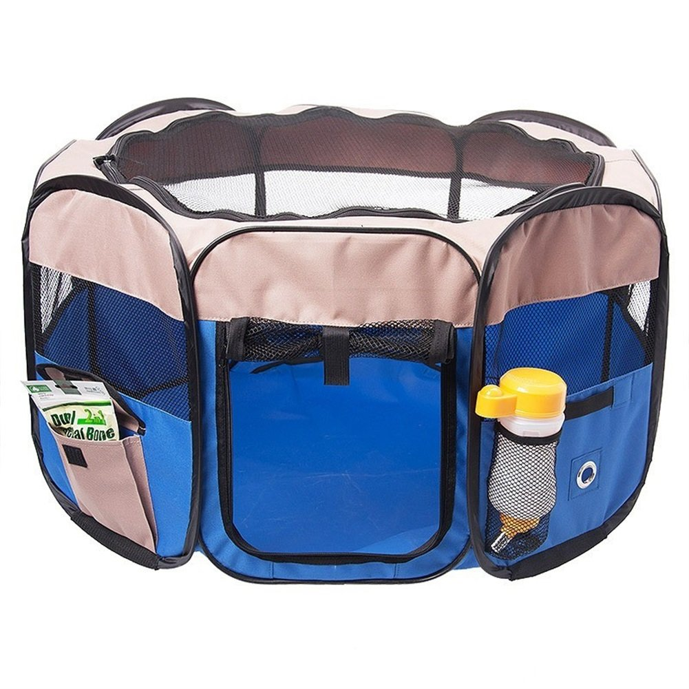 bluee S  75x75x41cm bluee S  75x75x41cm Vedem 8 Panels Pet Dog Flodable Playpen Exercise Cage Kennel Fence (S  75x75x41cm, bluee)