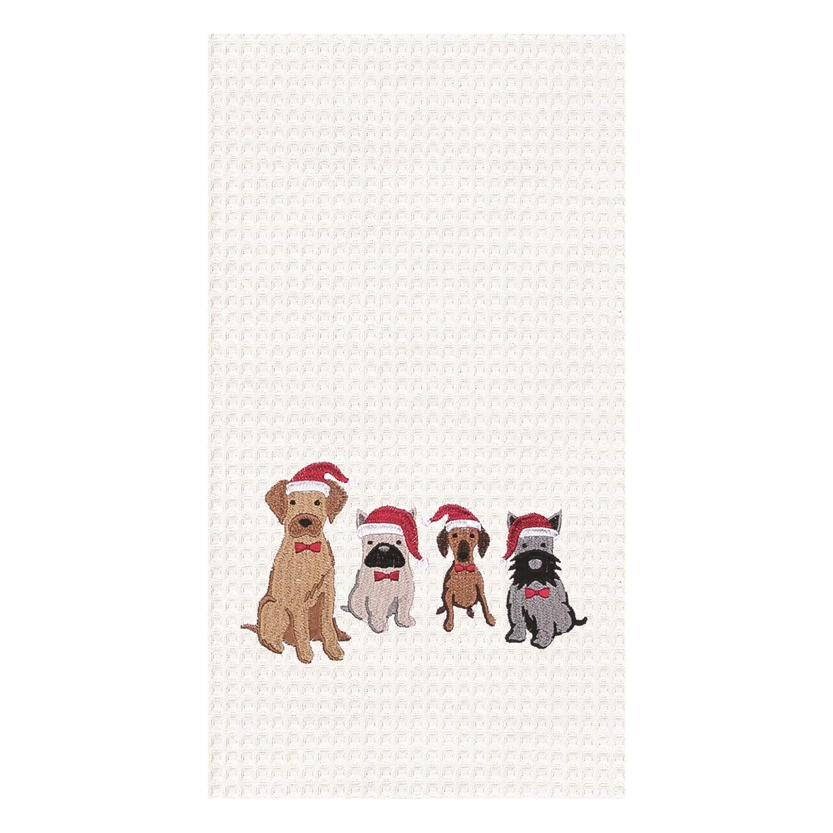 Dog Santa Hats 86100634 18 Inches x 27 Inches C/&F Waffle Weave Embroidered Dishtowel