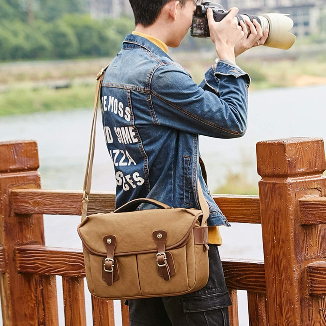 Color : Khaki AIYAMAYA One-Shoulder Camera Bag Waterproof Canvas Photography SLR Camera Bag Retro Casual Canvas Bag Male