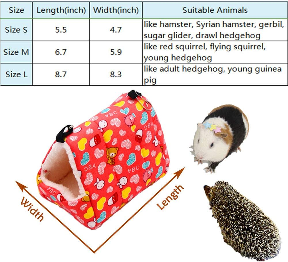 Oncpcare Winter Warm Small Animals Bed Playing Soft Hedgehog Bed Sleeping Cute Hamster Hammock Birds House Hanging Resting for Gerbil Young Guinea Pig Degu Drawl Hedgehog