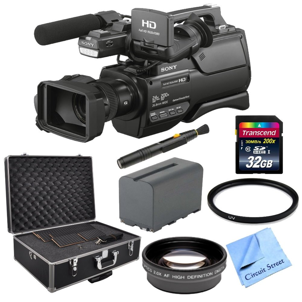 Sony HXR-MC2500 Shoulder Mount AVCHD Camcorder, With NP-F970 Replacement Battery, Telephoto HD Lens, Full Size Tripod, 32GB High Speed Memory Card, Lens Cleaning Pen, 37mm Filter, Camcorder Storage Case and CS Microfiber Cleaning Cloth by Circuit Street