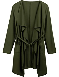 9f528f084ff1 Dealwell Women s Long Sleeve Open Front Waterfall Draped Trench Coat  Cardigan