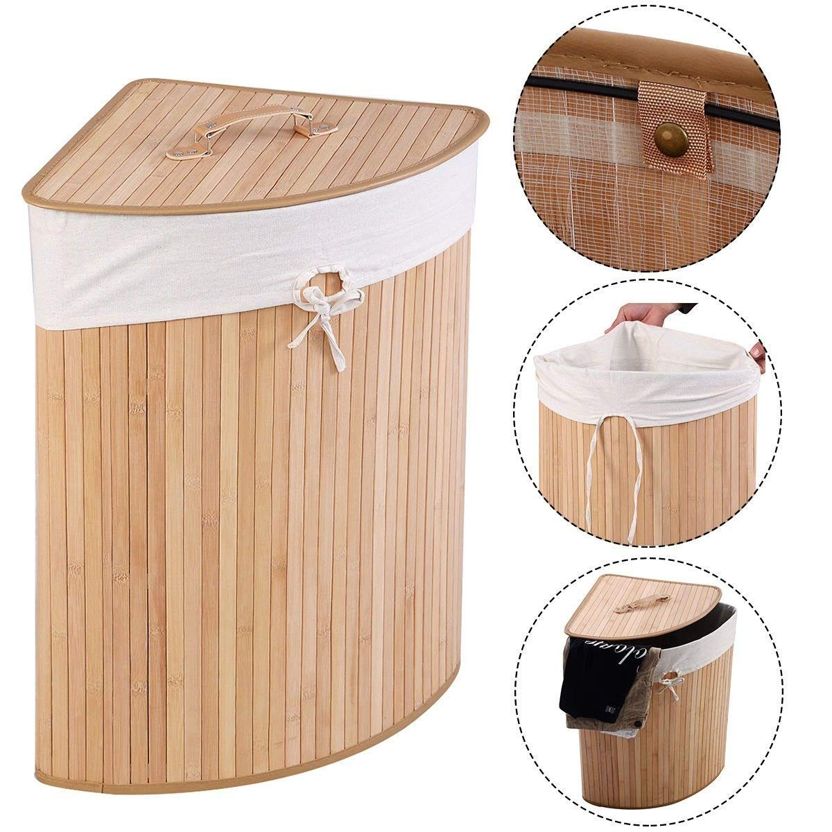 Corner Bamboo Hamper Laundry Basket Washing Cloth Bin Storage Bag Lid Natural