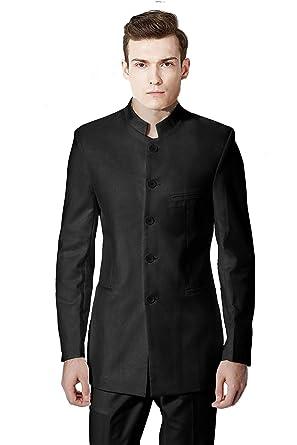 467f17618 MYS Men's Custom Made Mandarin Collar Dancing Suit Pants Set Black Size 38R