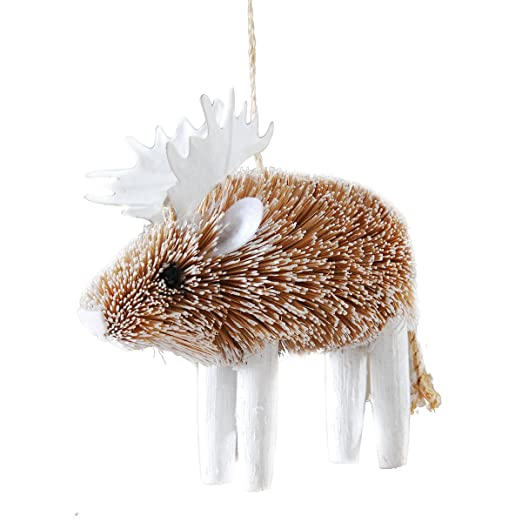 Christmas Tablescape Decor - Frosted moose buri brush ornament by Gallery II