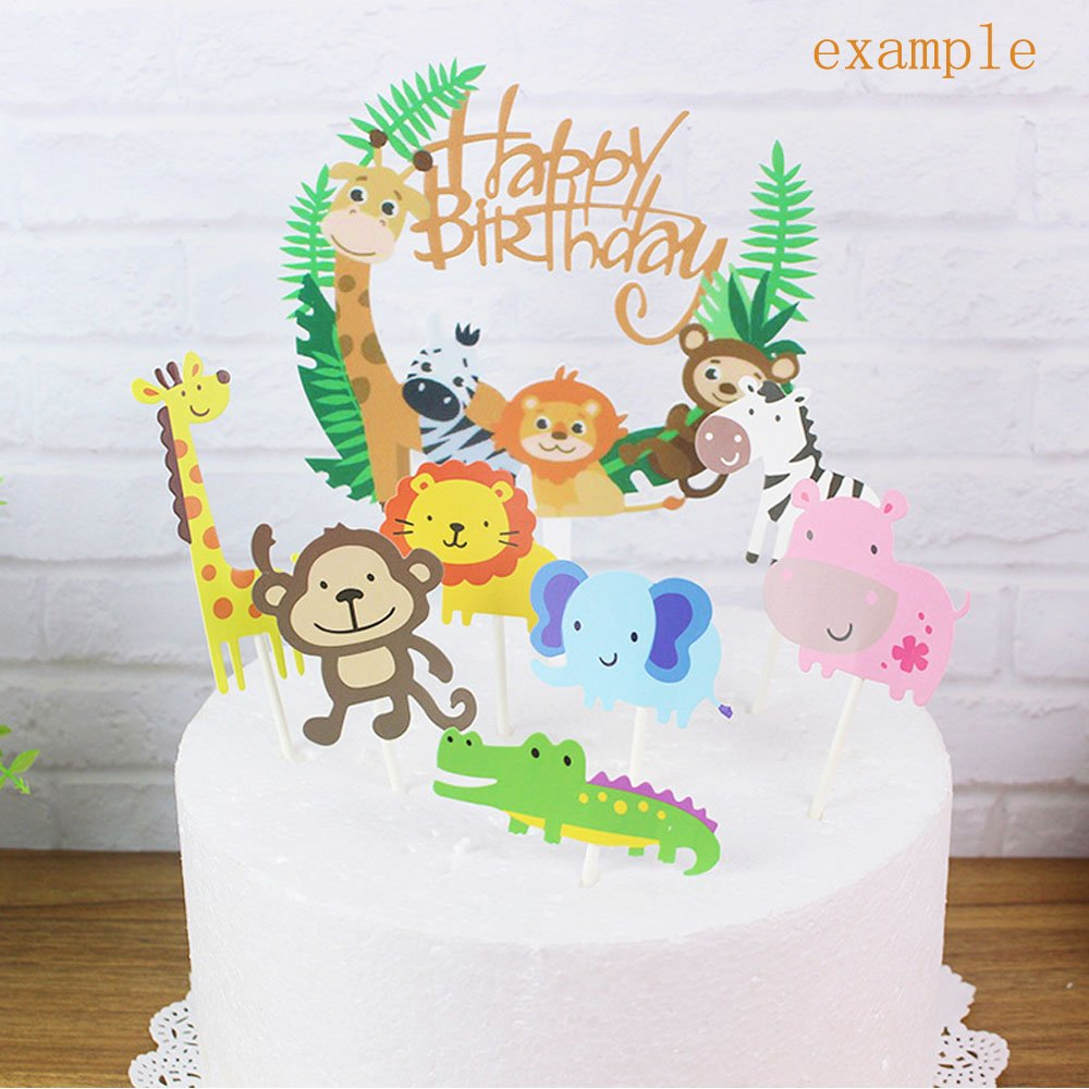 Tinksky 10pcs Jungle Animals Cake Toppers Cake Picks For Wedding