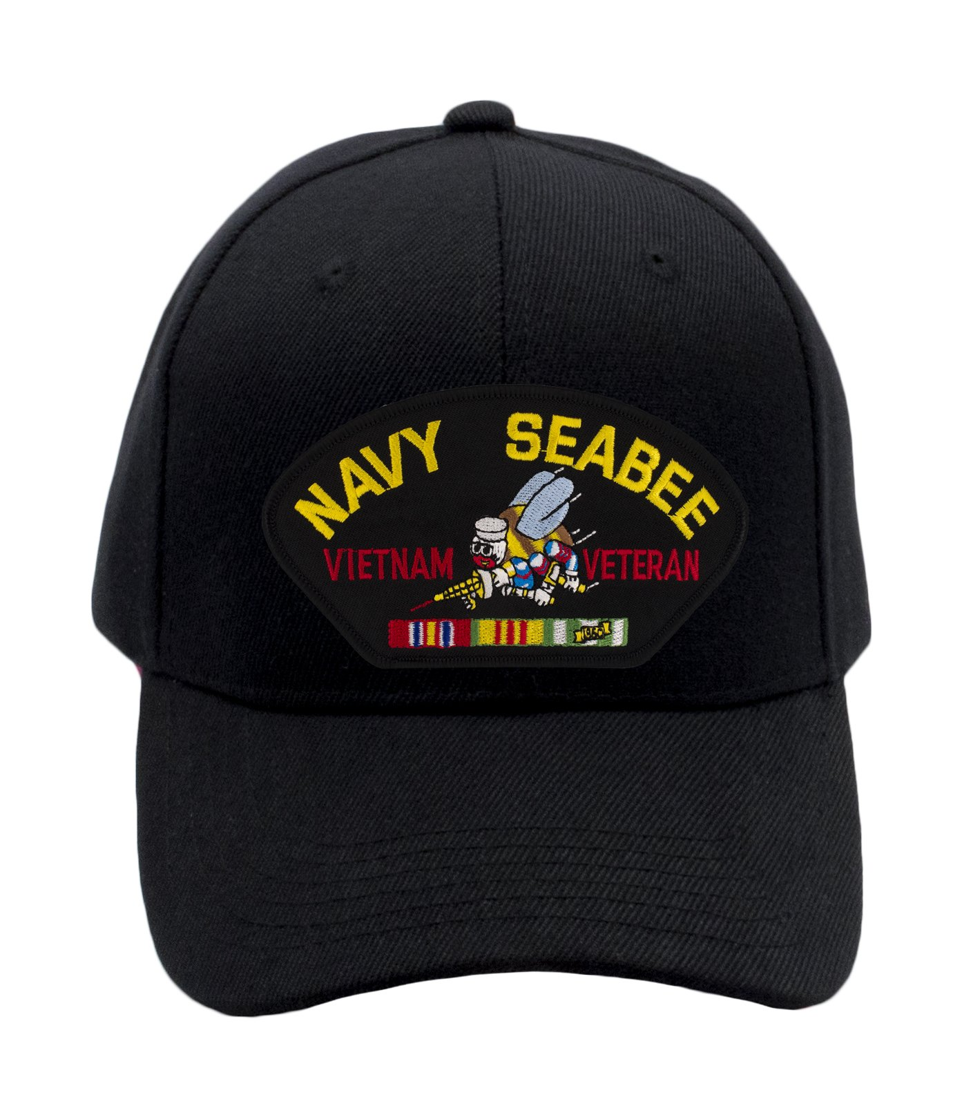Patchtown US Navy Seabee - Vietnam War Veteran Hat/Ballcap (Black) Adjustable One Size Fits Most