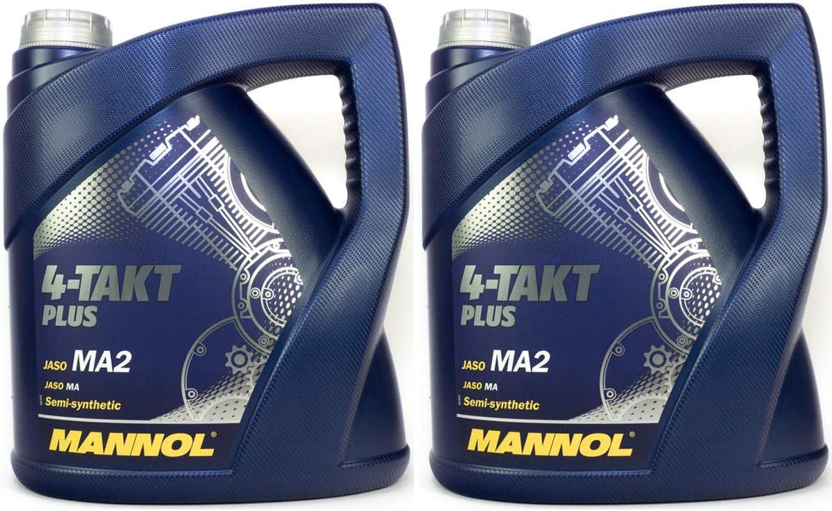Mannol 4 Takt Plus Api Sl Sae 10w 40 Teilsynthetisch 8 Liter Motorrad Öl Motorradöl Roller Auto