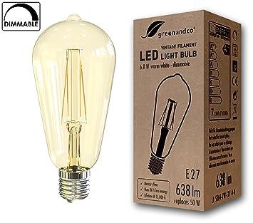 greenandco Bombilla de filamento LED Regulable Vintage E27 ST64 6.8W (corresponde a 50W) 638lm 2200K (Blanco cálido) 360° 230V Vidrio, sin Parpadeo: ...