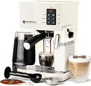 Espresso & Cappuccino Maker- 19 Bar Pump, 10 Pc All-In-One Espresso Maker & Milk Steamer, Inc: Bean Grinder, 2 Cappuccino & 2 Espresso Cups, Tamper, Single & Double Shot Filter Baskets, 1250W, (Cream)