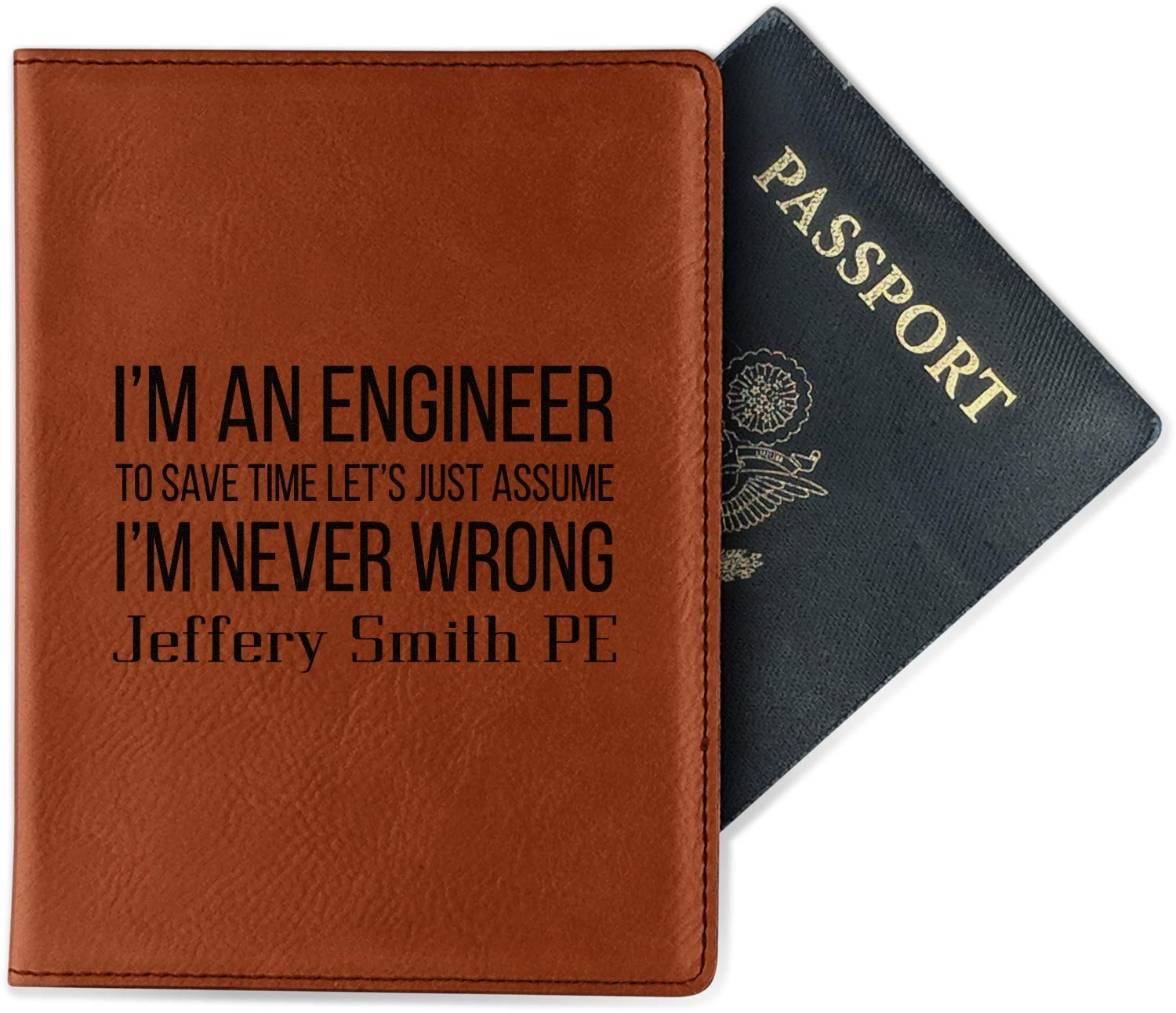 Double Sided Engineer Quotes Leatherette Passport Holder Personalized
