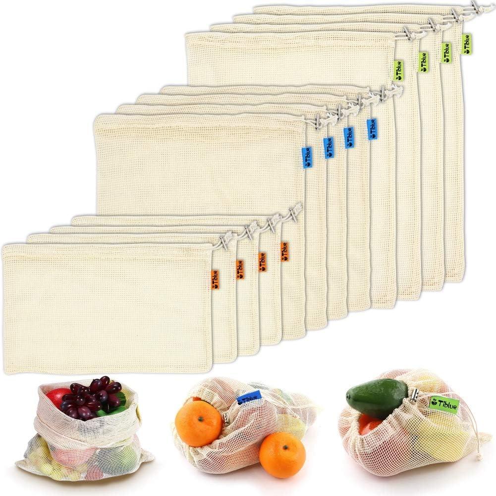 reusable fruit and vegetable bags shopping bags large size bulk bags orange flower zero waste 4 vegetable mesh bags
