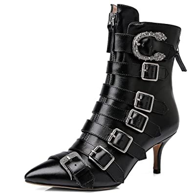 a37b9b31b8 Nine Seven Genuine Leather Women's Pointy Toe Sexy Stiletto Heel Zip Up  Colorful Handmade Buckles Ankle