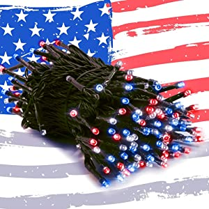 Home Lighting 200 LED 66FT Fairy String Lights, July 4th Patriotic Light with 8 Lighting Modes, Mini Lights Plug in for Indoor Outdoor Independence Day Tree Holiday Party Decor, Red & Blue & White