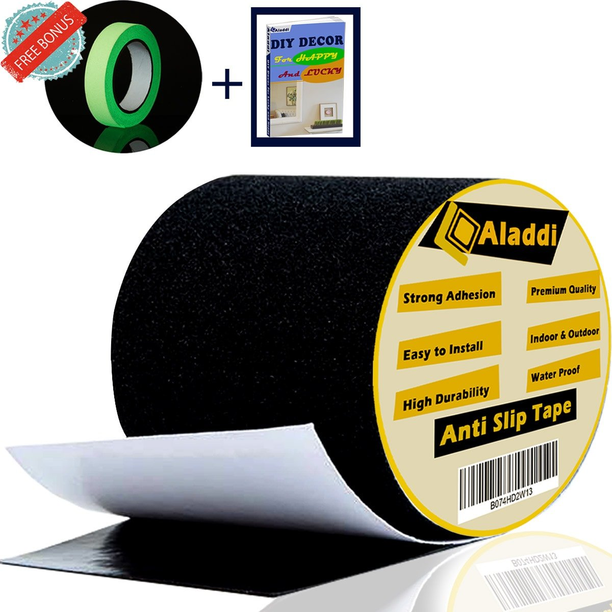 [FLASH SALE] Anti Slip Tape - Bonus Glow In The Dark Tape + eBOOK| Best Anti Skid Safety Tape for Indoor and Outdoor Tread High Friction Strong Grip Abrasive - Improves Traction, Prevents Risk 4''X16'