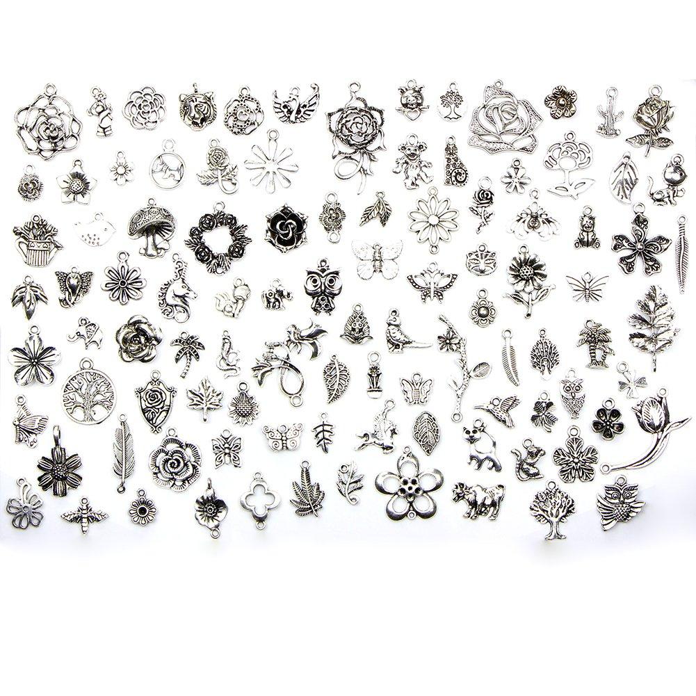 MoGist 100 pezzi fiore a forma di animale giungla Set Orecchini Anello Collana ciondolo argento bracciale accessori gioielli fai da te accessori attrezzi