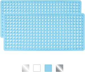 GORILLA GRIP Original Patented Bath, Shower, Tub Mat, 35x16, Machine Washable, Antibacterial, BPA, Latex, Phthalate Free, Bathtub Mats with Drain Holes and Suction Cups, Bathroom Mats, Pack of 2, Blue