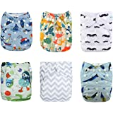 Babygoal Baby Cloth Diapers, One Size Reusable Washable Pocket Cloth Diaper, baby boy clothes,6pcs diapers+ 6 Inserts+4pcs Bamboo Inserts 6FB17