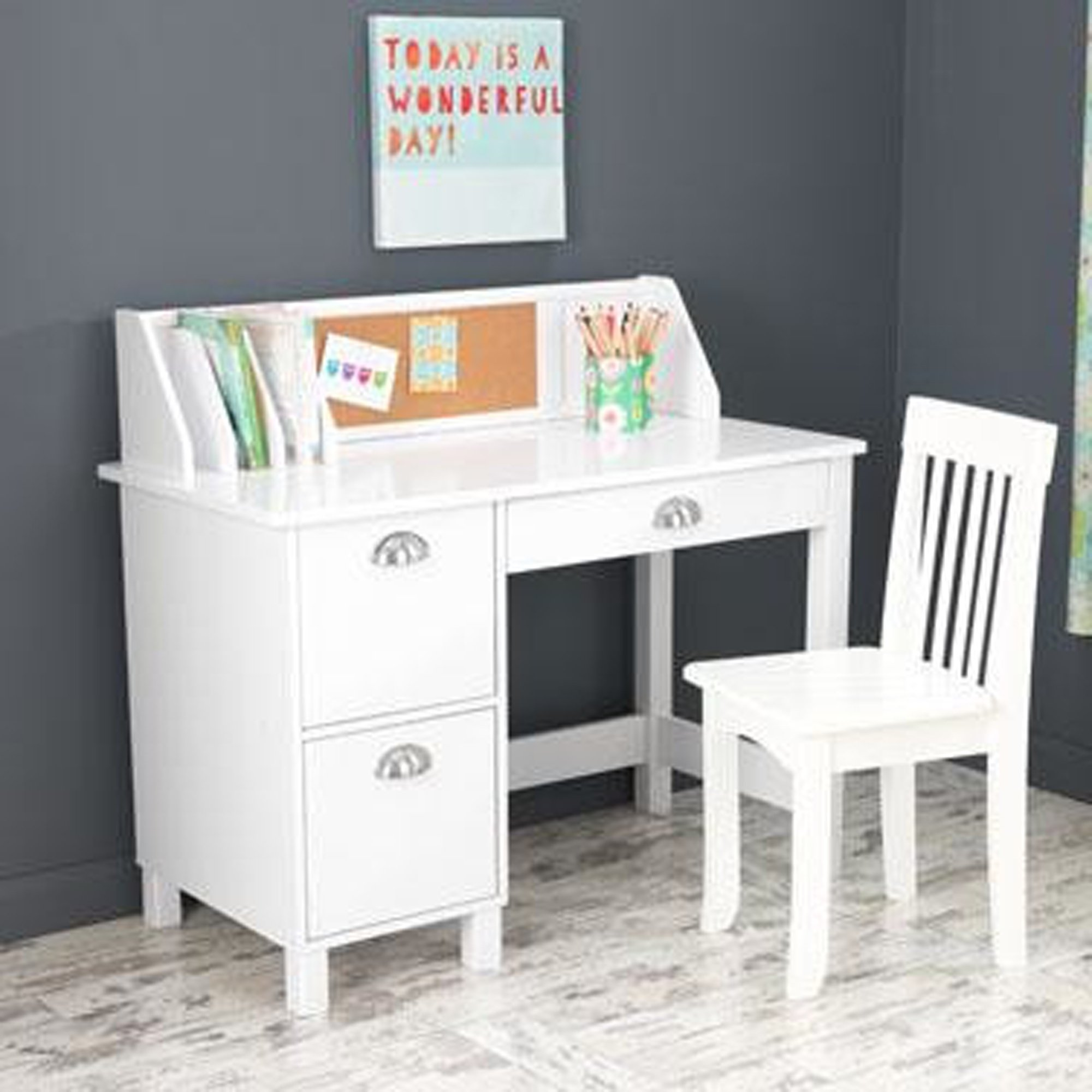 Kids Desk With Chair And Storage Set - Activity Study Writing Table With Hutch Corc Bulletin Board And File Organizer - Toddler Room Furniture (White)