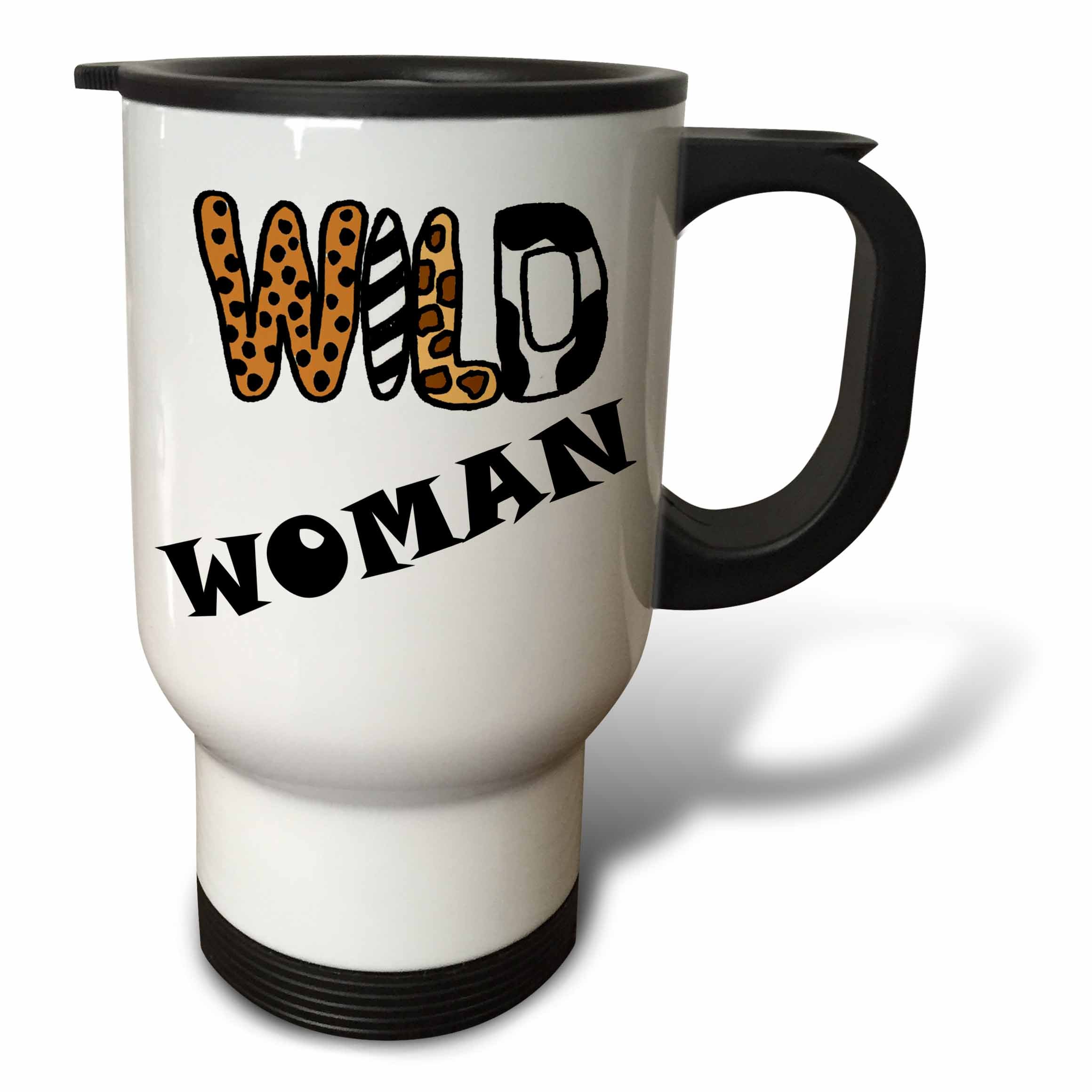 3dRose All Smiles Art Funny - Cute Funny Wild Woman Animal Print Letters Design - 14oz Stainless Steel Travel Mug (tm_281372_1)