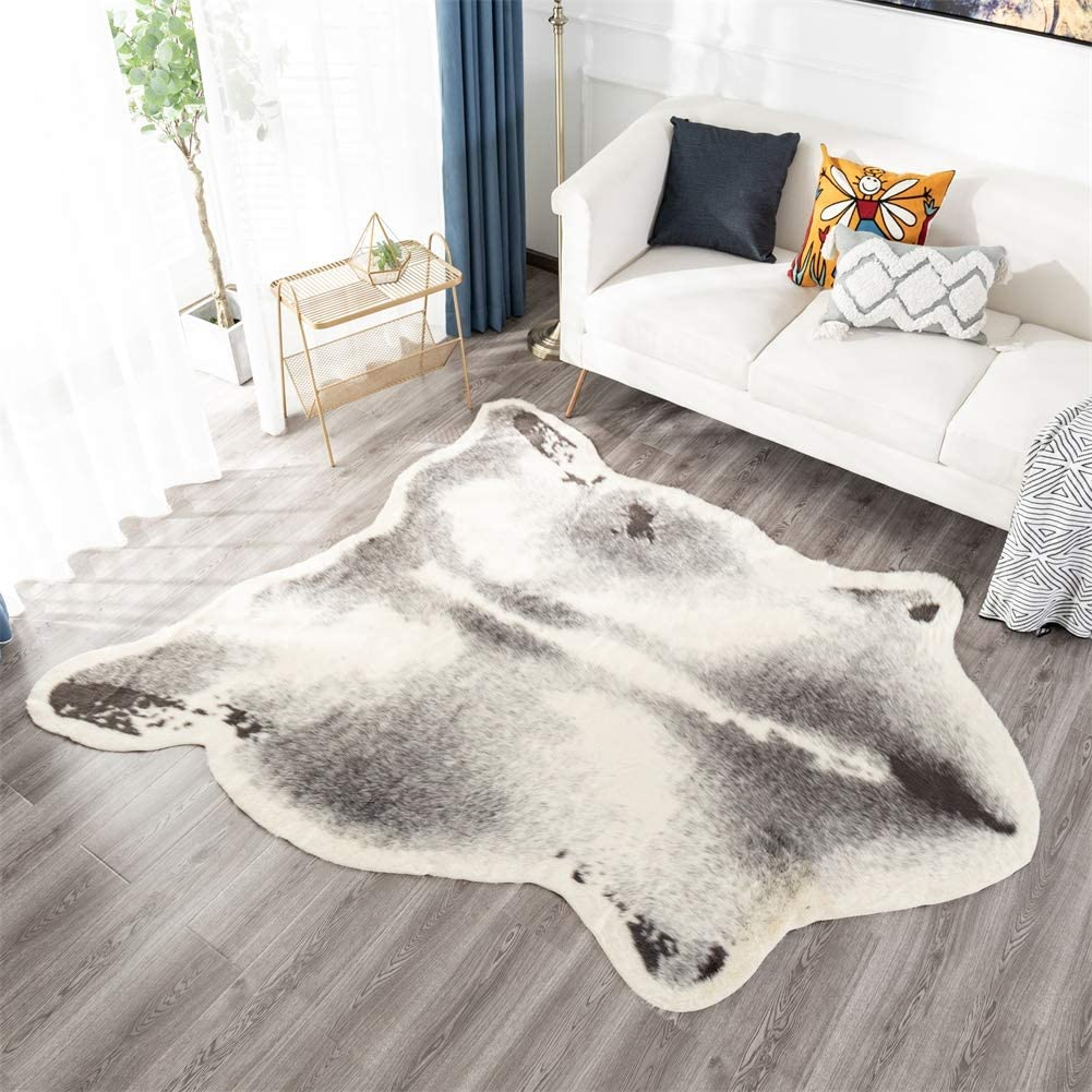 Faux Cowhide Area Rug, 41.3x31.5in Faux Cow Skin Fur Animal Print Rugs for Home Office Livingroom,Bedroom (Grey)