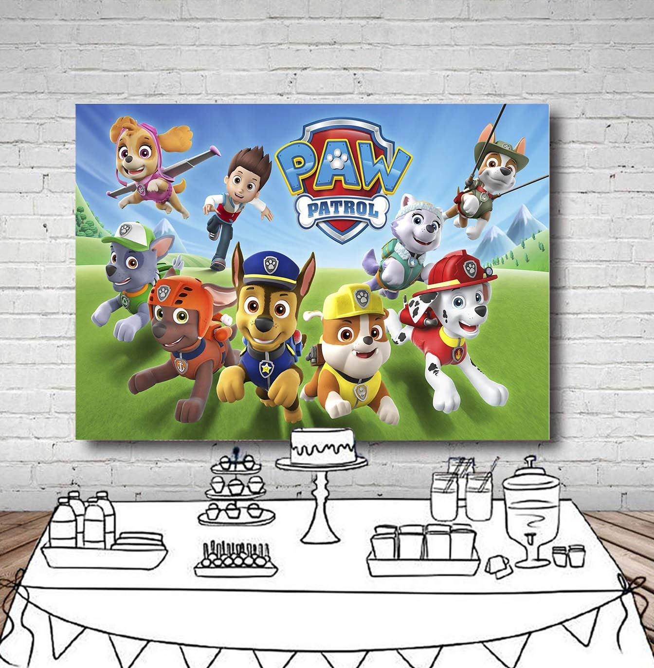 TJ 7X5FT Cartoon Paw Patrol Theme Photo Backdrops Kids Baby Shower Birthday Party Decotation Photography Background Cake Table Decor Banner Kids Studio Booth Props Vinyl by Tangjie (Image #3)