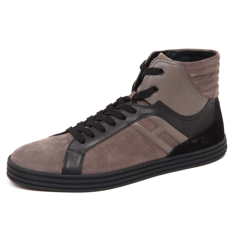 Acquista Hogan E2850 Sneaker Uomo Nero/Tortora Rebel R141 Scarpe Basket Shoe Man miglior prezzo offerta