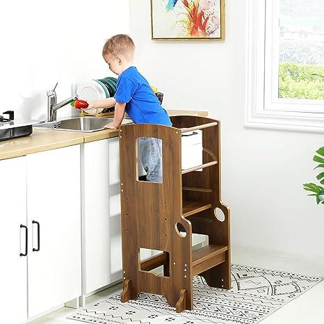 Amazon Com Adorneve Kitchen Helper Stool For Kids Height Adjustable Toddler Kitchen Stool Walnut Kitchen Dining
