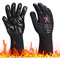 932℉ Extreme Heat Resistant Gloves, Silicone Oven Mitts for Kitchen - High Heat BBQ Gloves for Grilling, Large Oven…