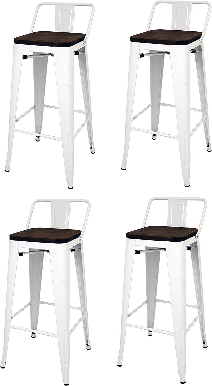 La Silla Española - Pack 2 Taburetes estilo Tolix con respaldo y asiento acabado en madera. Color Blanco. Medidas 95x43x43: Amazon.es: Hogar