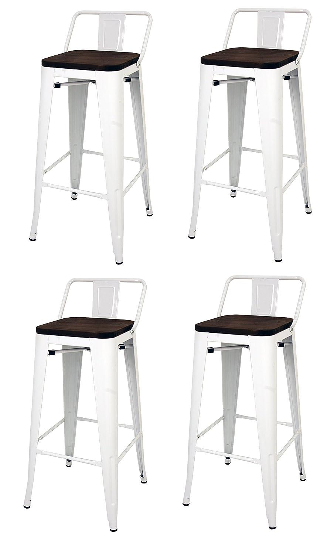 La Silla Española - Pack 2 Taburetes estilo Tolix con respaldo y asiento acabado en madera. Color Blanco. Medidas 95x43x43