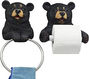 Ebros Black Bear Toilet Paper and Hand Towel Holder Set Whimsical Bear Bathroom Decor Accessories