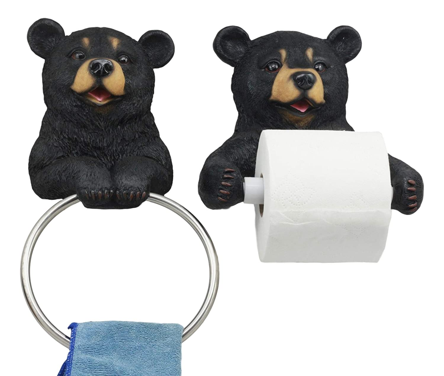 Darling Black Bear Toilet Paper and Hand Towel Holder Bathroom Wall Decoration Sculpture for Cozy Cabin and Hunting Lodge Decor Matching Figurine Set Gifts & Decors