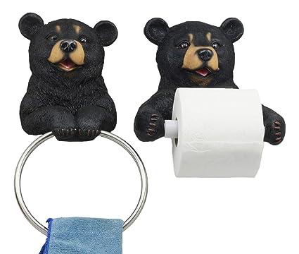 Amazon Com Ebros Black Bear Toilet Paper And Hand Towel Holder Set