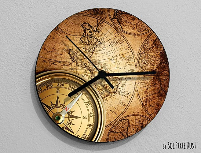 Vintage world map compass wall clock amazon handmade vintage world map compass wall clock gumiabroncs Choice Image