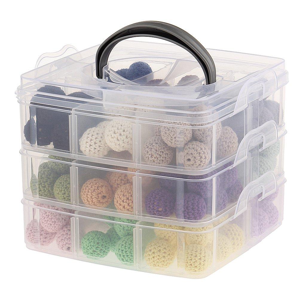 Jili Online 3-layer Baby Teether Nursing Toy Jewelry Making DIY Wood Teething Crochet Beads Accessories