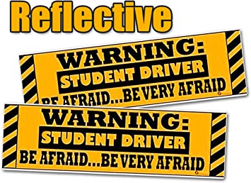 MagnaCard Magnetic Bumper Sticker Caution Student Driver and Screaming Parent 12 x 3 x 0.1 inches 20038