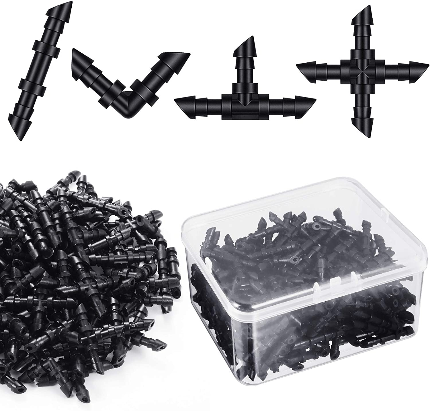 200 Pieces Drip Irrigation Fittings Kit for 1/4 Inch Tubing, 50 Straight Barbs, 50 Tees, 50 Elbows, 50 4-Way Couplings, Barbed Connectors with Plastic Box for Garden Lawn Drip, Sprinkler Systems,Black