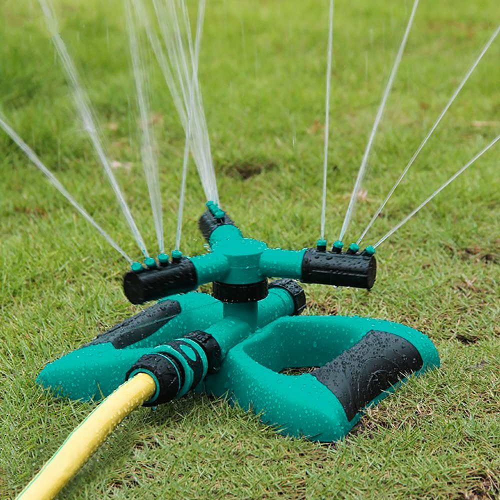 Madeking Garden Sprinkler, Automatic 360 Rotating Adjustable Garden Water Sprinklers Lawn Irrigation System Covering Large Area with Leak Free Design Durable 3 Arm Sprayer, Easy Connection