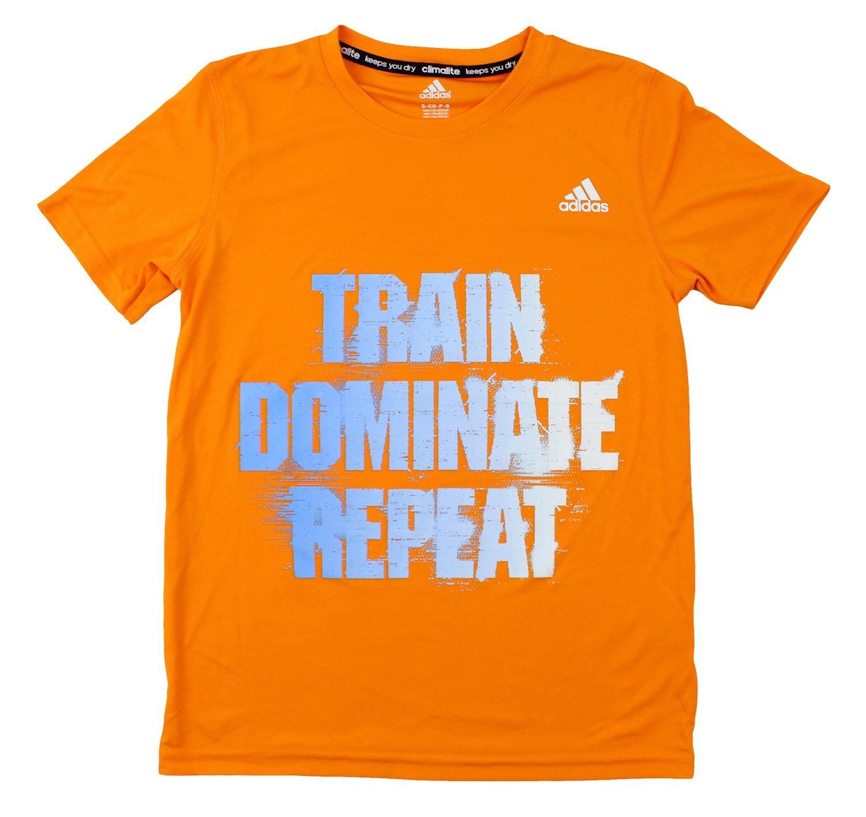 Adidas Youth Big Boys Short Sleeve Climalite Train Dominate Repeat Tee (Medium (10/12), Orange)