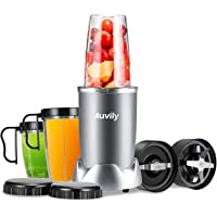 Auvily 1000W Blender Smoothie Maker Ice Crusher Juicer & Grinder Stainless Steel Base High Speed with 750ml and 2×350ml BPA-Free Cups